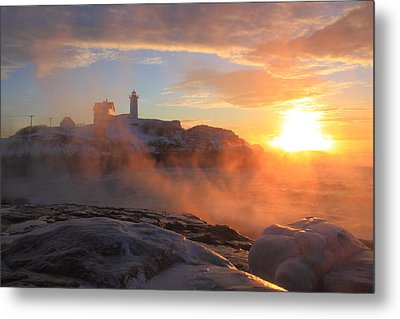 Nubble Lighthouse Sea Smoke Sunrise Metal Print by John Burk
