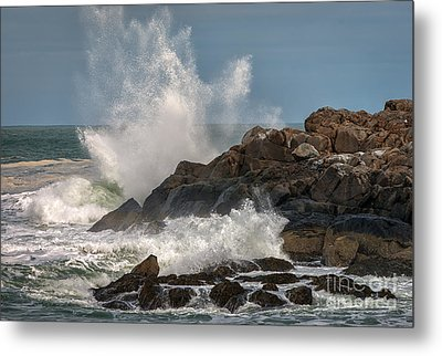 Nubble Lighthouse Waves 1 Metal Print by Scott Thorp