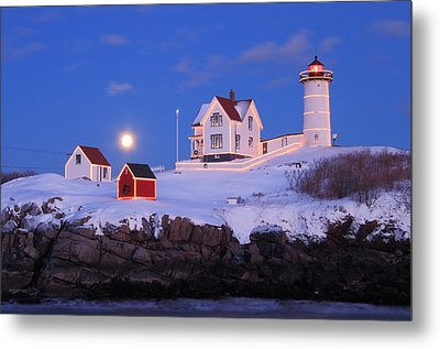 Nubble Lighthouse Winter Moon Metal Print by John Burk