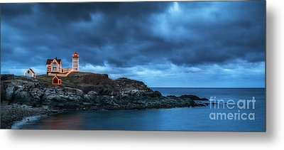 Nubble Lighthouse Before The Storm Metal Print by Scott Thorp