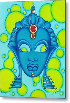 Nubian Modern Mask Blue Metal Print by Joseph Sonday