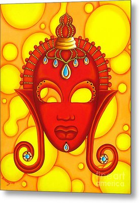 Nubian Modern Mask Red Metal Print by Joseph Sonday