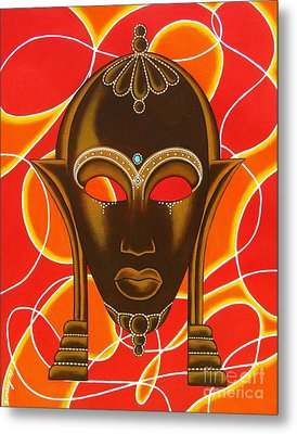 Nubian Modern Mask With Red And Orange Metal Print