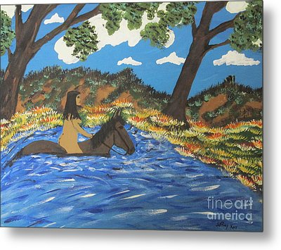 Metal Print featuring the painting Nude And Bareback Swim by Jeffrey Koss
