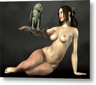 Nude Athena With Owl Metal Print by Kaylee Mason