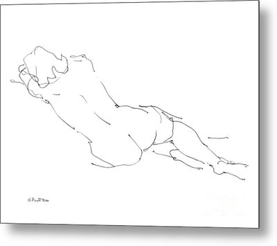Nude Female Drawings 9 Metal Print by Gordon Punt
