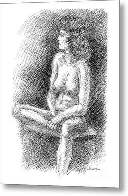 Metal Print featuring the drawing Nude Female Sketches 2 by Gordon Punt
