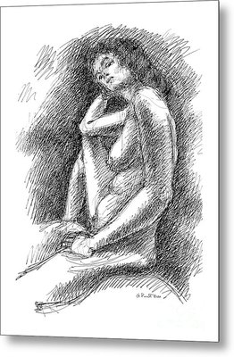 Metal Print featuring the drawing Nude Female Sketches 3 by Gordon Punt