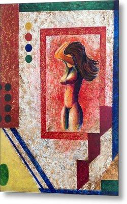 Nude  Girl In Frame  Metal Print by Renate Voigt