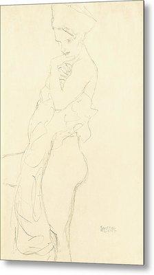 Nude Metal Print by Gustav Klimt