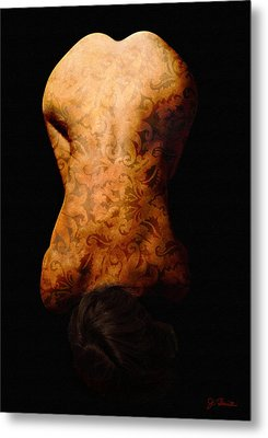 Nude In Brocade Metal Print by Joe Bonita