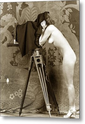Nude In High Heel Shoes With Studio Camera Circa 1920 Metal Print
