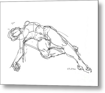 Metal Print featuring the drawing Nude Male Drawings 1 by Gordon Punt