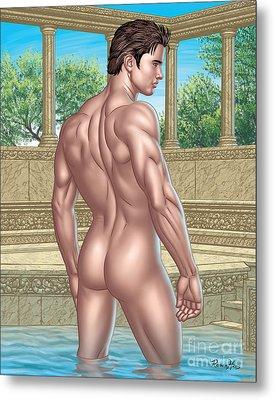 Nude Male In Roman Bath  Metal Print