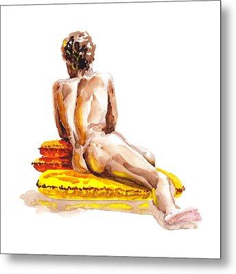 Nude Male Model Study Vi Metal Print
