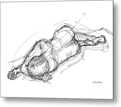 Nude Male Sketches 4 Metal Print by Gordon Punt