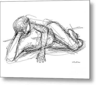 Metal Print featuring the drawing Nude Male Sketches 5 by Gordon Punt