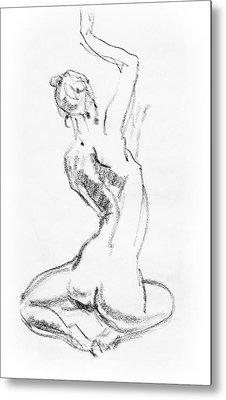 Nude Model Gesture V Metal Print
