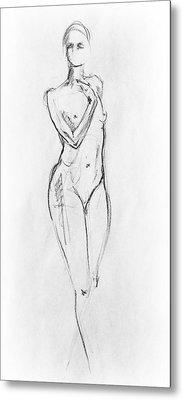 Nude Model Gesture Viii Metal Print