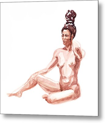 Nude Model Gesture X Metal Print