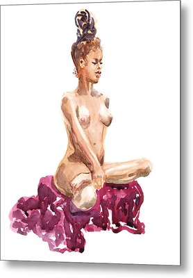 Nude Model Gesture Xi Royal Garnet Metal Print by Irina Sztukowski