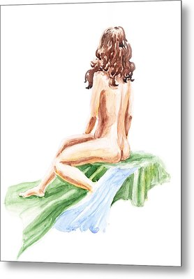 Nude Model Gesture Xii Blue River Metal Print by Irina Sztukowski