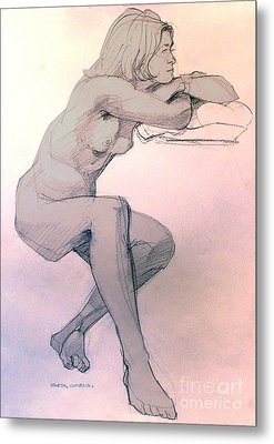 Nude Of A Dreamy Young Woman Metal Print by Greta Corens