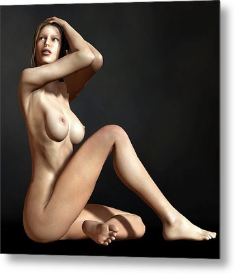 Nude On The Floor Metal Print by Kaylee Mason