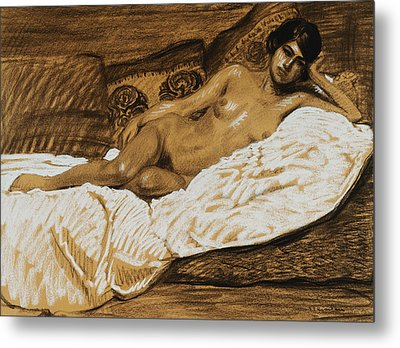 Nude Outstretched Metal Print by Theophile Alexandre Steinlen