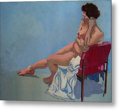 Nude Sitting In Red Chair Metal Print by Mike Jory