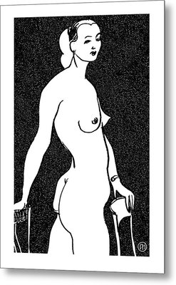 Nude Sketch 4 Metal Print by Leonid Petrushin