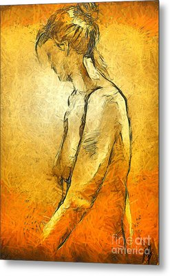 Metal Print featuring the painting Nude Viii by Dragica  Micki Fortuna