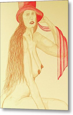 Nude With Red Hat Metal Print by Rand Swift