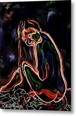 Outlined Nude 1 Metal Print