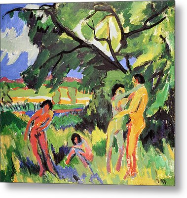 Nudes Playing Under Tree Metal Print by Ernst Ludwig Kirchner