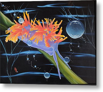 Metal Print featuring the painting Nudibranche by Dianna Lewis