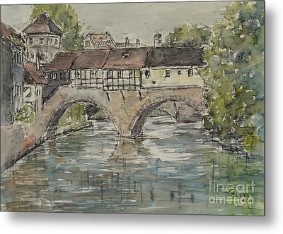 Metal Print featuring the painting Nuernberg Bridge Of The Hangman by Alfred Motzer