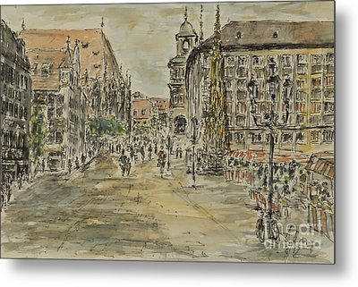 Metal Print featuring the painting Nuernberg Central Market Place With Gothic Fountain by Alfred Motzer