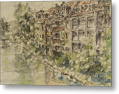 Metal Print featuring the painting Nuernberg Southern Riverside Of Rednitz by Alfred Motzer