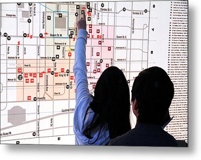 Nuit Blanche Map Metal Print by Valentino Visentini