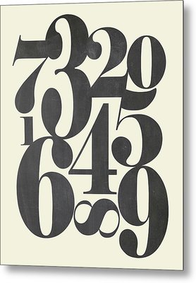 Numbers Cream Metal Print by Amy Cummings