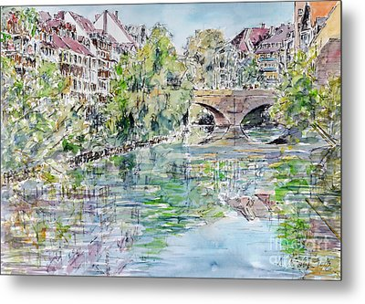 Metal Print featuring the painting Nuremberg River Pegnitz Watching Charles Bridge by Alfred Motzer
