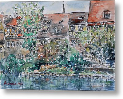 Metal Print featuring the painting Nuremberg Southern Riverside Of Pegnitz by Alfred Motzer