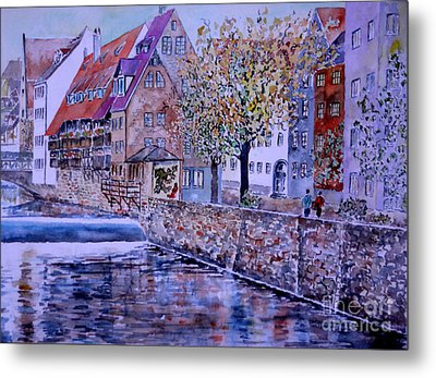 Metal Print featuring the painting Nuremberg Walk By The Riverside by Alfred Motzer