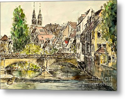 Metal Print featuring the painting Nuremberg Watching St.laurence Cathedral by Alfred Motzer