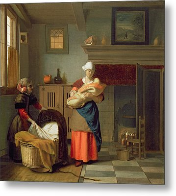 Nursemaid With Baby In An Interior And A Young Girl Preparing The Cradle Metal Print by Pieter de Hooch