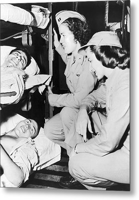 Nurses Comfort Wounded Metal Print by Underwood Archives