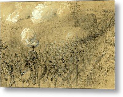 N.y. 14th Heavy Artillery Crossing Chesterfield Bridge Metal Print