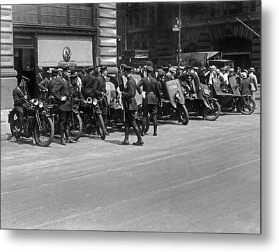 Ny Armored Motorcycle Squad  Metal Print by Underwood Archives