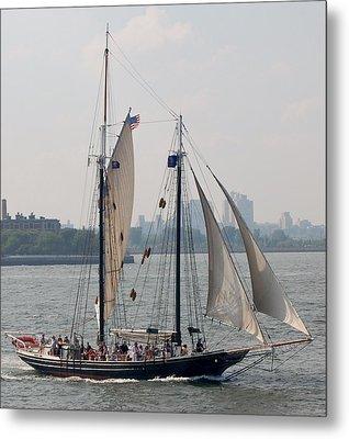 Ny Harbor Schooner Metal Print